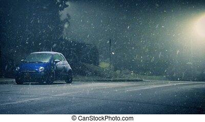 homme, temps, promenades, route, neigeux