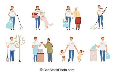 homme, temps, vecteur, characters., donation, protection, fonctionnement, personnes, gens, incapacité, soin, volontaires, social, vieux