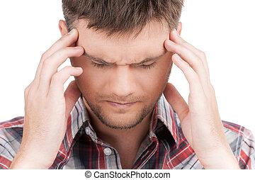homme, tension, mal tête, tête, avoir, arrière-plan., tenue, devant, type, sentiment, blanc, dépression, vue