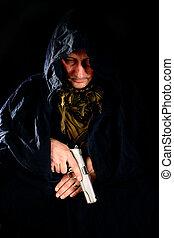 homme, tenue, a, pistolet