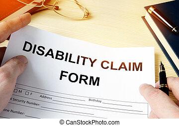 homme, tenue, incapacité, réclamation, formulaire, pour, insurance.