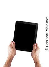homme, tenue, pc tablette