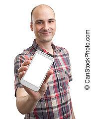 homme, tenue, vide, téléphone portable