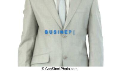 homme, toucher, business, mot