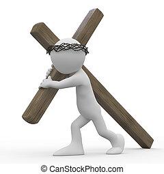 homme, traîner, bois, croix