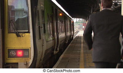homme, train, business, station