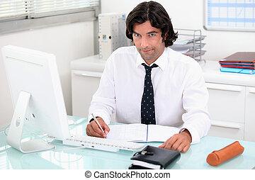 homme, travailler, sien, bureau