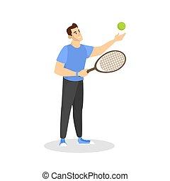 homme, tribunal, heureux, joueur, badminton., jouer