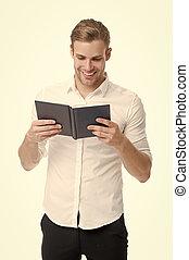 homme, type, isolé, education., white., livre, lire, bibliothèque, école, avidly., beau, heureux, langue, literature., étudiant, bibliotheca., devoir, book., bon