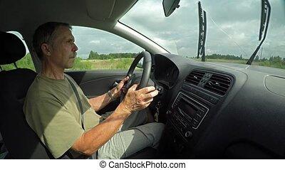 homme, ultrahd, conduite, rural, long, 4k, vidéo, highway., voiture