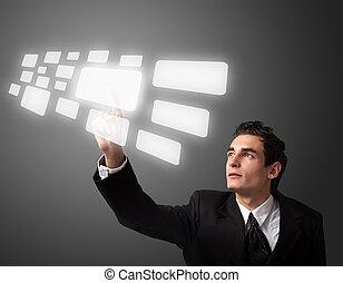 homme, urgent, business, bouton