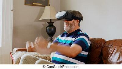 homme, utilisation, 4k, virtuel, salle, vivant, casque à...