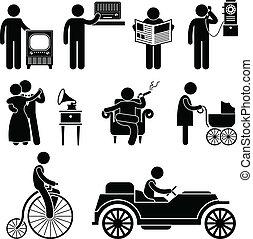 homme, utilisation, retro, vendange, objet