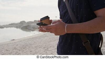 homme, utilisation, sien, jeune, téléphone