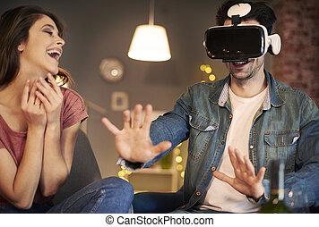 homme, utilisation, simulateur, réalité virtuelle