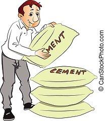 homme, vecteur, sack., ciment, tenue