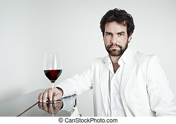 homme, verre, beau, vin rouge