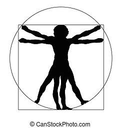 homme, vetruvian, silhouette