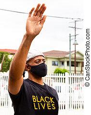 homme, vies, protestation, matière, noir