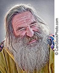 homme, vieux, rire