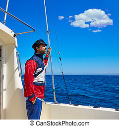 homme, voile, casquette, marin, mer, capitaine, bateau, barbe