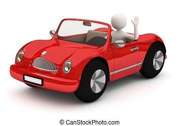 homme, voiture, aller, rouges, 3d