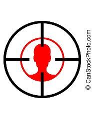 homme, weapon., vue, cible, tête