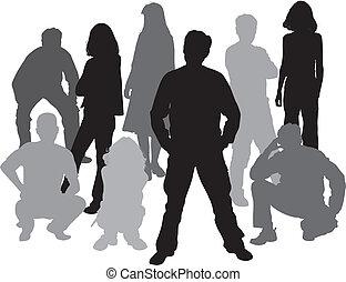 (homme, women), silhouettes, vecteur, amis