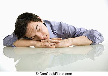 homme, work., dormir