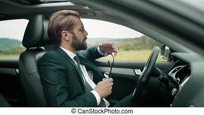 homme, yeux, voiture, long, because, mûrir, frottement, complet, équitation