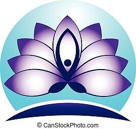 homme yoga, lotus, logo