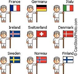 hommes, à, les, drapeaux, de, européen, pays