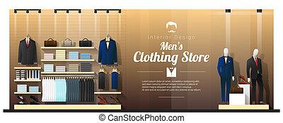 hommes, 2, luxe, fond, intérieur, vêtant magasin