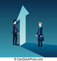 hommes affaires, équipe, à, financier, flèche, croissance