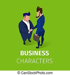 hommes affaires, accord, caractères, mains secouer