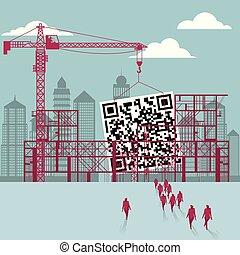 hommes affaires, construction., bâtiment, site., qr, code, sous, groupe, marché