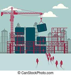hommes affaires, construction., puce, bâtiment, site., sous, groupe, marché
