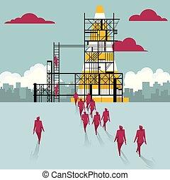 hommes affaires, construction., site., bâtiment, cônes, trafic, sous, groupe, marché