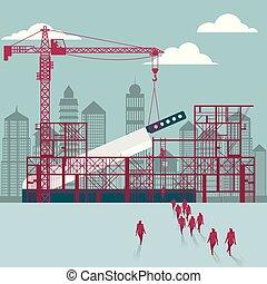 hommes affaires, construction., site., bâtiment, couteau, sous, groupe, marché