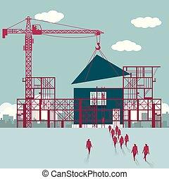 hommes affaires, construction., site., bâtiment, groupe, logement, marché