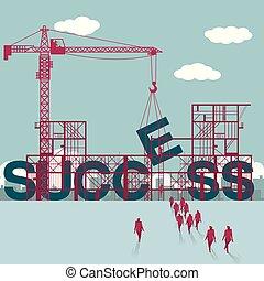 hommes affaires, construction., site., bâtiment, réussi, groupe, marché