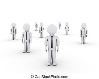 hommes affaires, debout, dans, différent, endroits