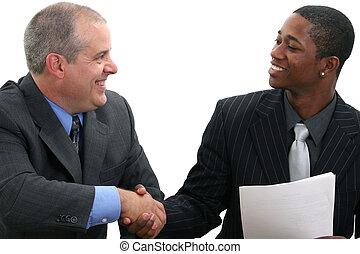hommes affaires, handshak