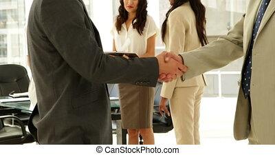 hommes affaires, mains, conversation, secousse, ensemble