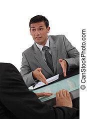 hommes affaires, négocier