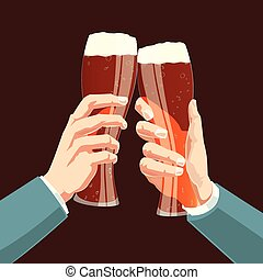 hommes affaires, réunion, accord, vecteur, bière, toast, illustration., symbole