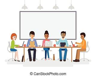 hommes affaires, réunion, femmes affaires