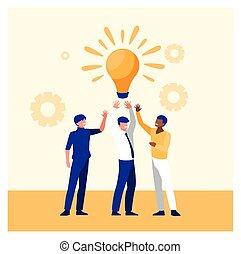hommes affaires, réussi, reussite, équipe, business, célébrer