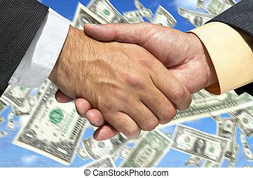 hommes affaires, secousse, deux mains