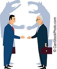 hommes affaires, secousse, tromper, mains